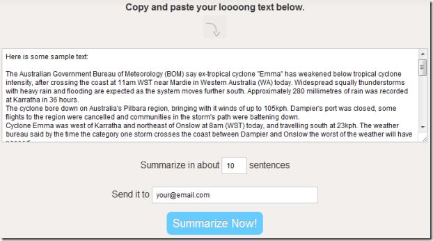 Summarize paragraphs online